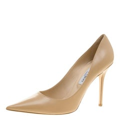 Jimmy Choo Beige Leather Abel Pointed Toe Pumps Size 41