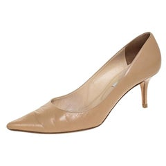 Jimmy Choo Beige Leather Aza Pointed Toe Pumps Size 40.5