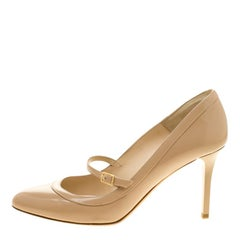 Jimmy Choo Beige Leather Mary Jane Pumps Size 38