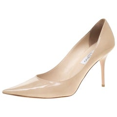 Jimmy Choo Beige Nude Patent Leather Agnes Pointed Toe Pumps Size 40.5