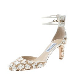 Jimmy Choo Beige/Off White Floral Woven Raffia Magic 65 Ankle Strap Round Toe Pu
