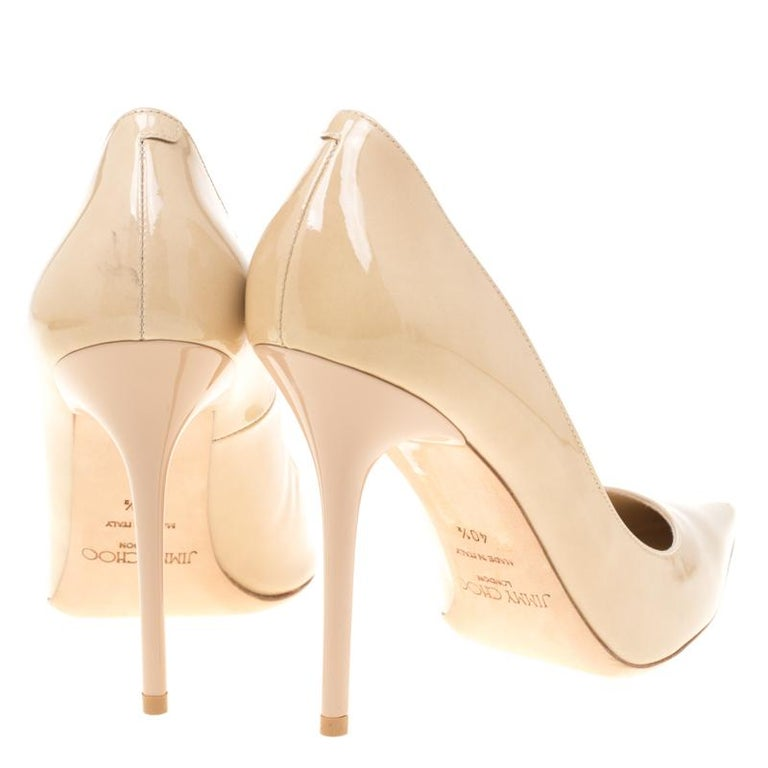 38e3de0a08d Jimmy Choo Beige Patent Leather Abel Pointed Toe Pumps Size 40.5 In New  Condition For Sale