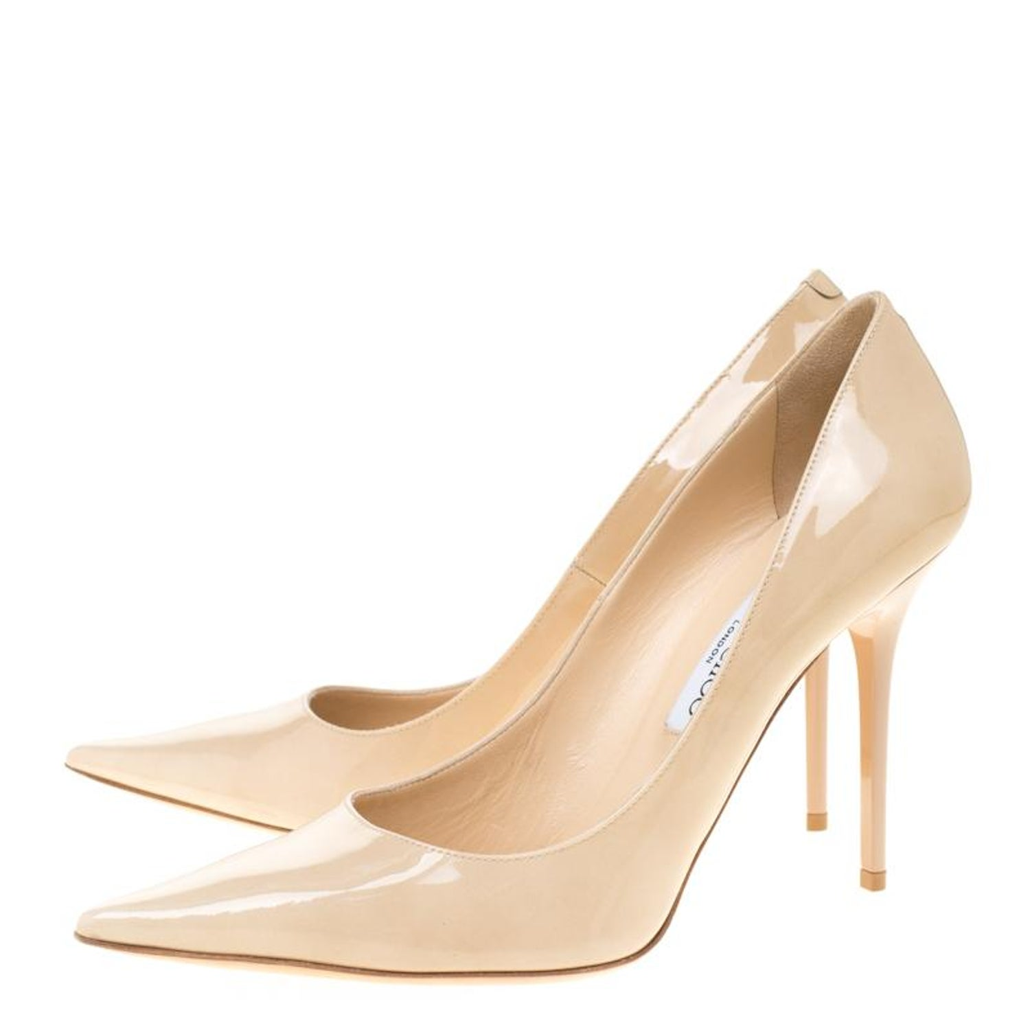a6412b2ed38 Jimmy Choo Beige Patent Leather Abel Pointed Toe Pumps Size 40.5 For Sale  at 1stdibs