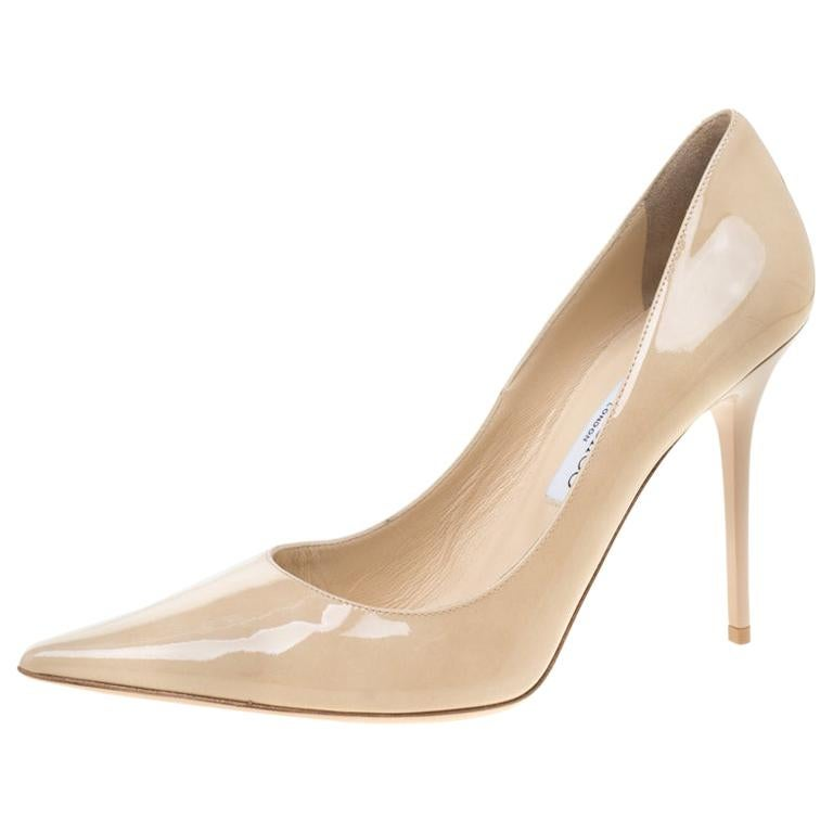8be102efd4e Jimmy Choo Beige Patent Leather Abel Pointed Toe Pumps Size 40.5 For Sale