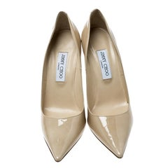 Jimmy Choo Beige Patent Leather Abel Pointed Toe Pumps Size 41