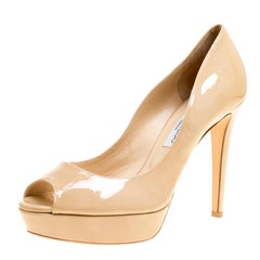 Jimmy Choo Beige Patent Leather Dahlia Peep Toe Platform Pumps Size 41