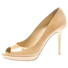 Jimmy Choo Beige Patent Leather Luna Peep Toe Platform Pumps Size 40.5