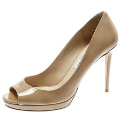 Jimmy Choo Beige Patent Leather Luna Peep Toe Platform Pumps Size 41