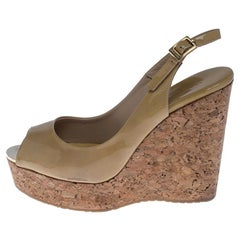 Jimmy Choo Beige Patent Leather Prova 120 Wedge Sandals Size 38.5