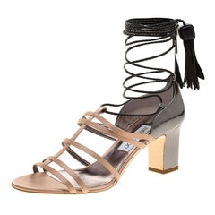Jimmy Choo Beige Satin and Metallic Leather Diamond Ankle Tie Up Sandals Size 40