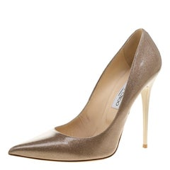 Jimmy Choo Beige Shimmering Patent Leather Abel Pointed Toe Pumps Size 41