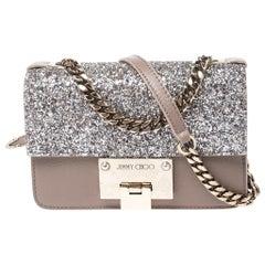 Jimmy Choo Beige/Silver Leather and Glitters Rebel Soft Mini Crossbody Bag