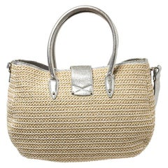 Jimmy Choo Beige/Silver Raffia and Shimmer Leather Rania Tote