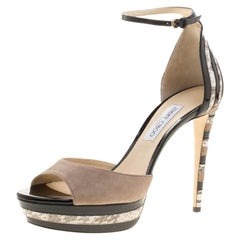 Jimmy Choo Beige Suede and Elaphe Leather Trim Max Ankle Strap Platform Sandals