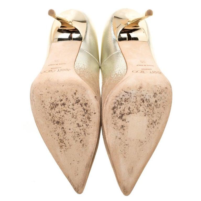 6ac685d6b959d Women's Jimmy Choo Beige Suede and Gold Dégradé Decollete Pointed Toe Pumps  Size 35 For Sale