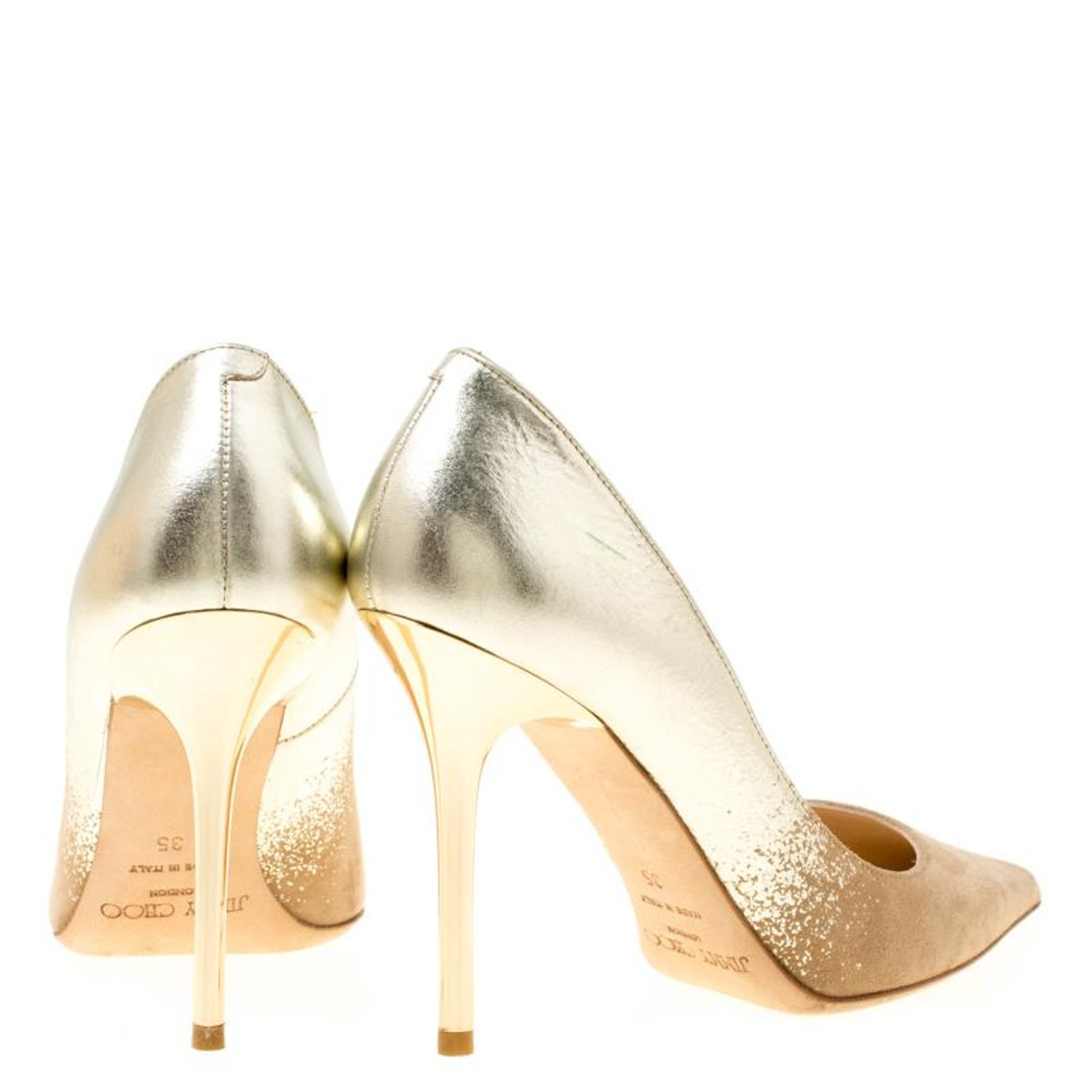 15810359e7fe2 Jimmy Choo Beige Suede and Gold Dégradé Decollete Pointed Toe Pumps Size 35  For Sale at 1stdibs