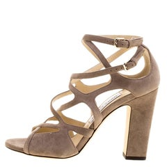 55c56b6d973 Jimmy Choo Beige Suede Dillan Criss Cross Block Heel Open Toe Sandals Size  37