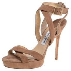 Jimmy Choo Beige Suede Vamp Platform Sandals Size 40