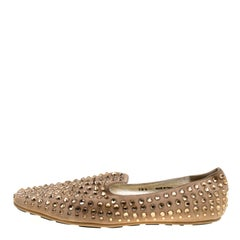 Jimmy Choo Beige Suede Wheel Crystal Studded Smoking Slippers Size 38.5