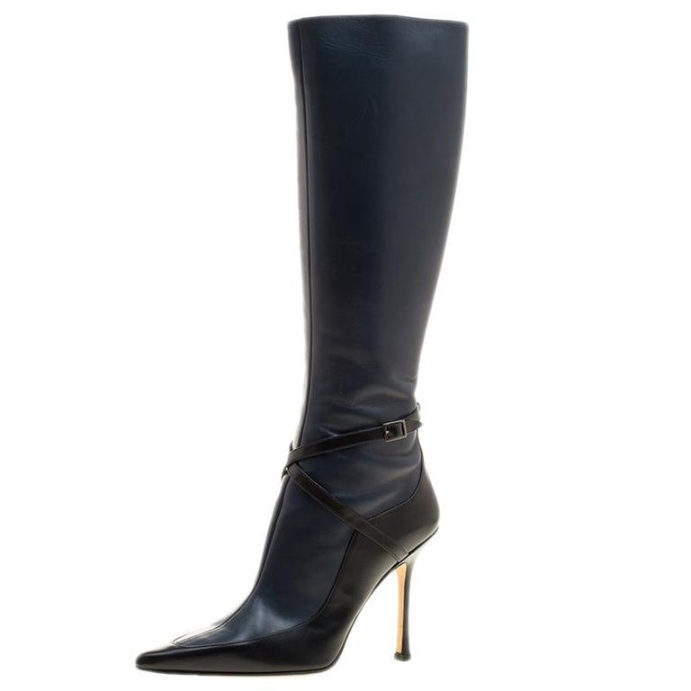 f95e46f9b0c Jimmy Choo Black And Blue Leather Award Knee High Pointed Toe Boots Size 40  For Sale at 1stdibs