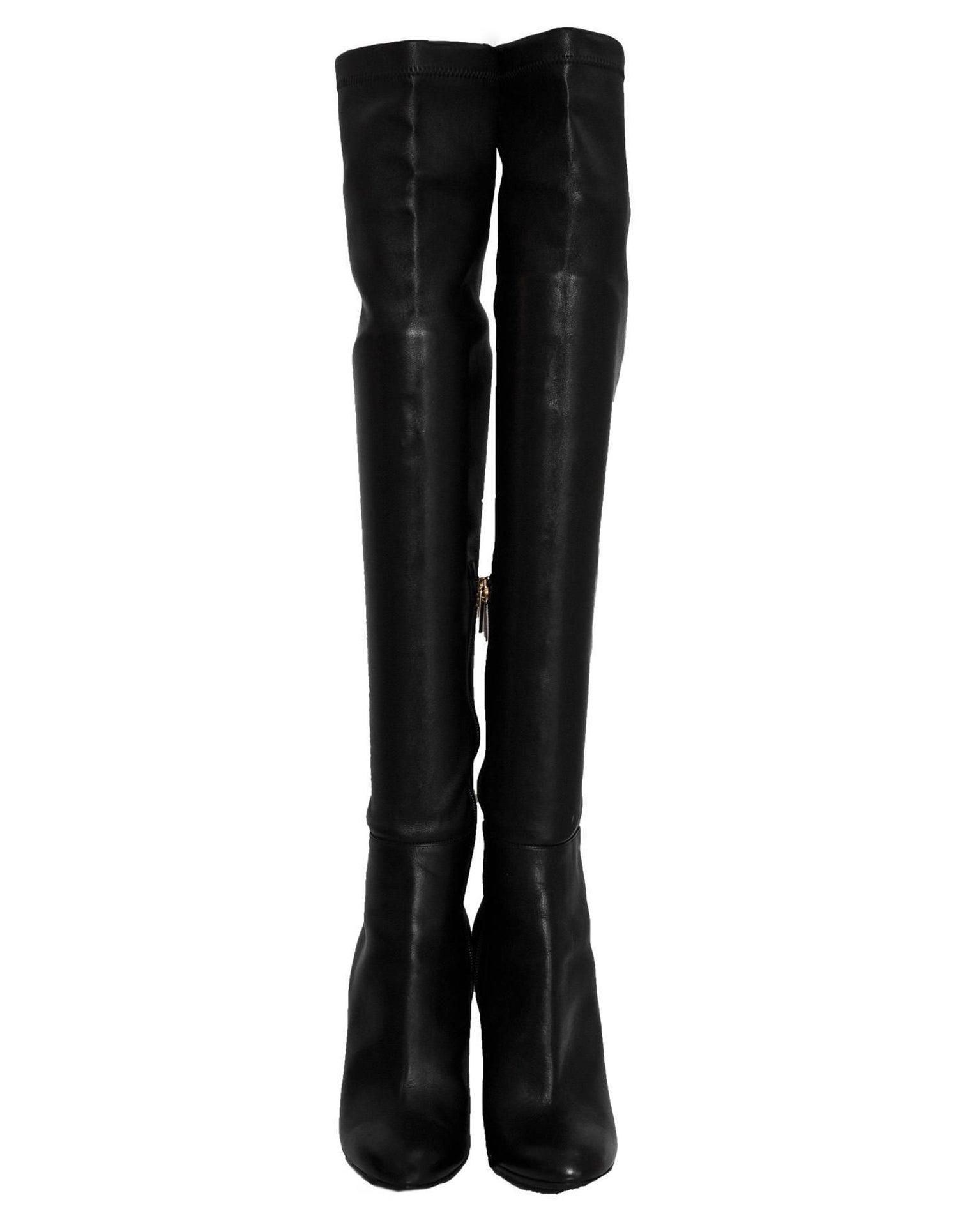 d9729c53e1f Jimmy Choo Black Calf Leather Turner Over-The-Knee Boots Sz 36
