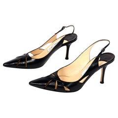 Jimmy Choo Black Cutout Slingback Pointed Toe Shoes With Original Box