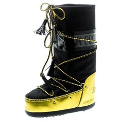 Jimmy Choo Black Fabric And Acid Yellow Mirror MB Classic Snow Boots Size 38