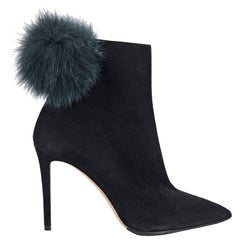 Jimmy Choo Black Fur Pom Suede Ankle Boots