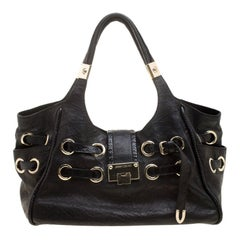 Jimmy Choo Black Glazed Crinkled Leather Riki Tote