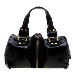 Jimmy Choo Black Glazed Leather and Suede Marla Satchel