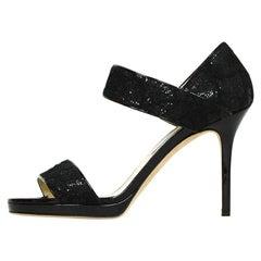 Jimmy Choo Black Glitter Lace Sandals sz 39.5