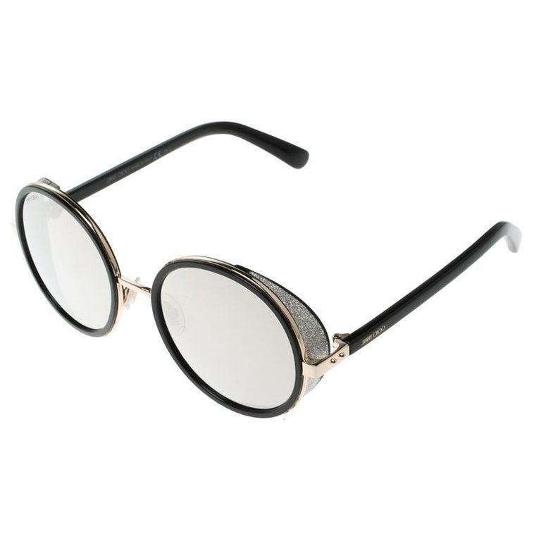 fa93f5039aa8 Gray Jimmy Choo Black Gold Mirror J7QM3 Andie Round Sunglasses For Sale