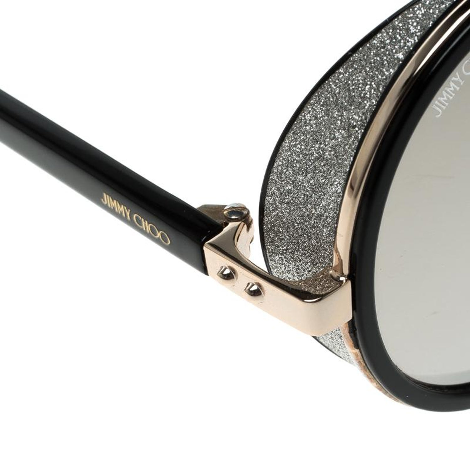 779ea79c2325 Jimmy Choo Black Gold Mirror J7QM3 Andie Round Sunglasses For Sale at  1stdibs