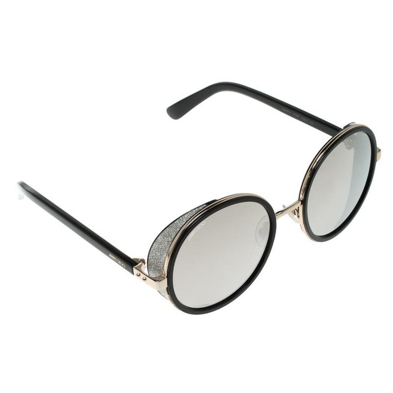 fd5191912a Jimmy Choo Black Gold Mirror J7QM3 Andie Round Sunglasses For Sale ...