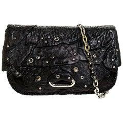 Jimmy Choo Black Jewel Embellished Leather Flap Chain Shoulder Bag