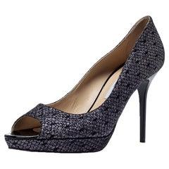 Jimmy Choo Black Lace Glitter Luna Peep Toe Platform Pumps Size 40