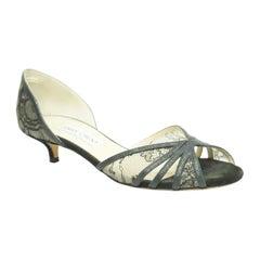 Jimmy Choo BLACK lace peep toe w/ kitten heel Shoes-37