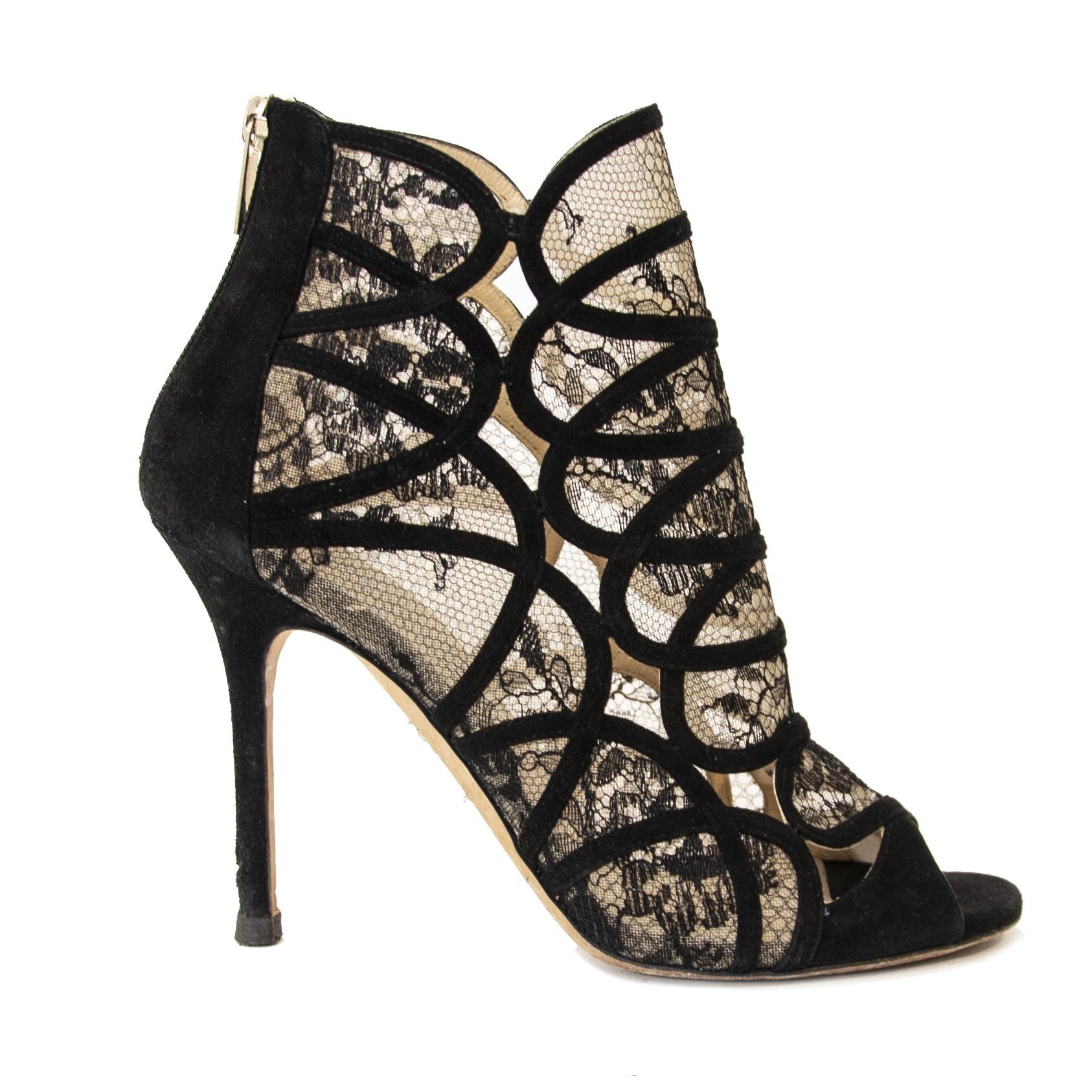 Jimmy Choo Black Lace Peeptoe Heels