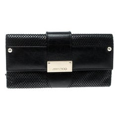Jimmy Choo Black Laser Cut Leather Uma Wallet