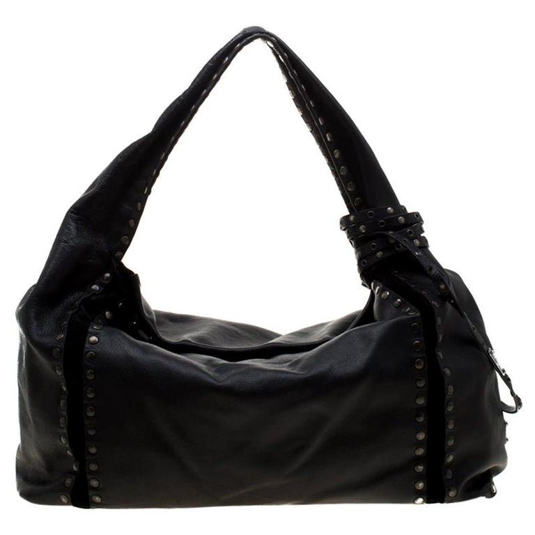 e4ec0768106 Jimmy Choo Black Leather and Suede Studded Saba Hobo For Sale at 1stdibs