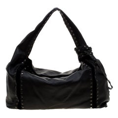 Jimmy Choo Black Leather and Suede Studded Saba Hobo