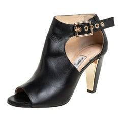 Jimmy Choo Black Leather Belted Detail Open Toe Ankle Boots Size 35