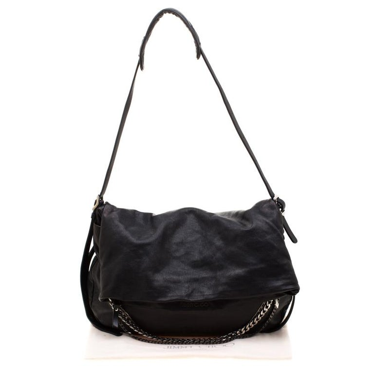 Jimmy Choo Black Leather Boho Biker Chain Hobo For Sale 7