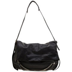 Jimmy Choo Black Leather Boho Biker Chain Hobo