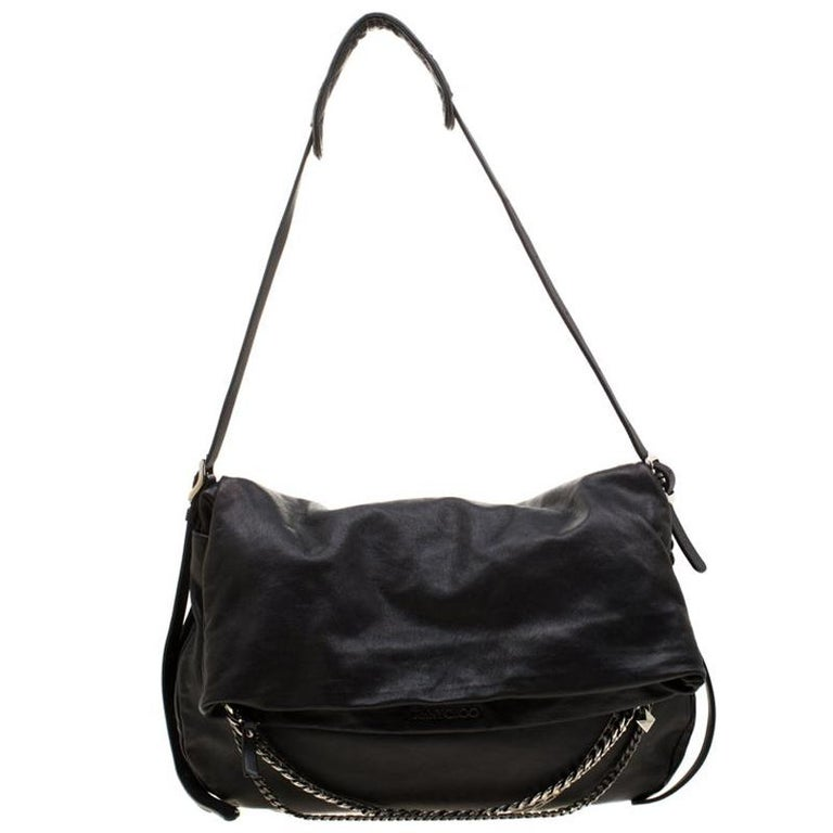 Jimmy Choo Black Leather Boho Biker Chain Hobo For Sale