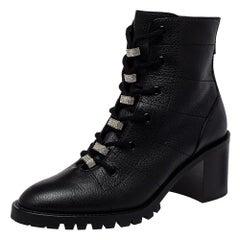 Jimmy Choo Black Leather Cruz Crystal Embellished Combat Boots Size 38