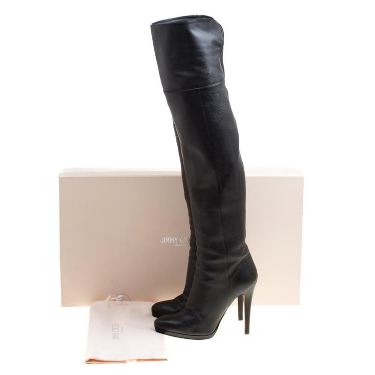 21c055b5c957 Jimmy Choo Black Leather Giselle Over The Knee Boots Size 39 For Sale 4