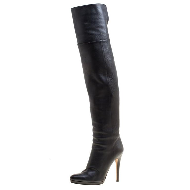 c90d5d2340a Jimmy Choo Black Leather Giselle Over The Knee Boots Size 39 For Sale
