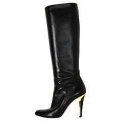 Jimmy Choo Black Leather Heeled Knee-High Boots with Gold Trim Heel sz 36.5