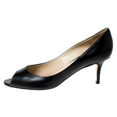 Jimmy Choo Black Leather Isabel Peep Toe Pumps Size 39